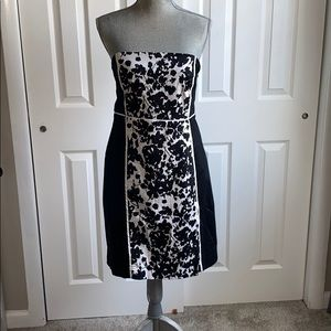 New York & Company Bland and White Strapless Dress